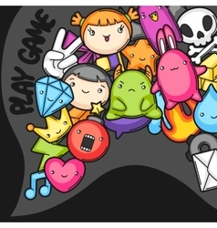 Game kawaii background cute gaming design vector