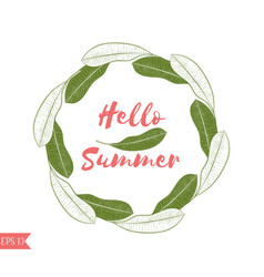 Graphic tropical wreath in green and pink colors vector