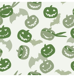Halloween pumpkin head and bat vector image