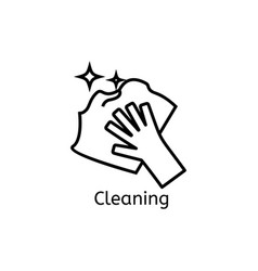 hand holding simple line icon cleaning thin vector image vector image