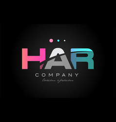 har h a r three letter logo icon design vector image vector image