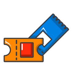 Hockey ticket icon cartoon style vector