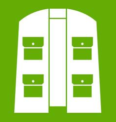 Hunter vest icon green vector