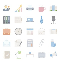 Office and marketing flat icons set vector image