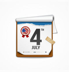 Paper calender independence day american vector image vector image