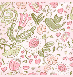 Pattern doodles bird and flowers vector