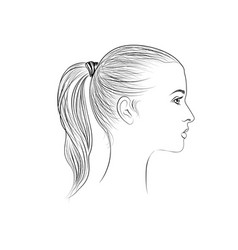 pretty girl profile young woman face sketching vector image vector image