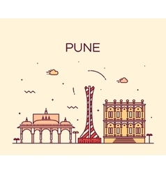 Pune skyline trendy linear vector
