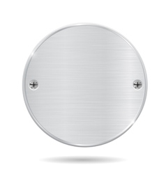 Round metal plate with screws vector