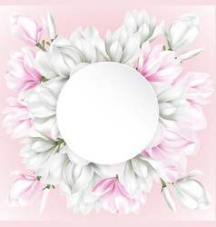 round paper with white and pink flowers vector image vector image