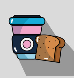 Slice bread and coffee with plastic cup beverache vector