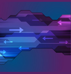 Tech blue purple abstract arrows background vector