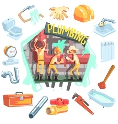 Three plumbers at work surrounded by profession vector