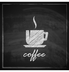 Vintage with coffee cup on blackboard background vector
