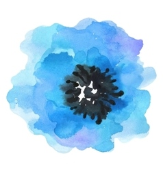 Watercolor blue flower on a white vector
