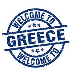 welcome to greece blue stamp vector image vector image