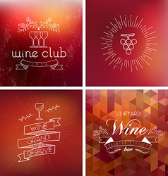 Wine bar vintage label background set vector
