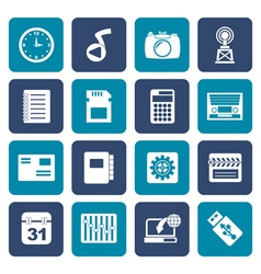 Flat phone performance internet and office icons vector