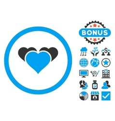 Heart favourites flat icon with bonus vector