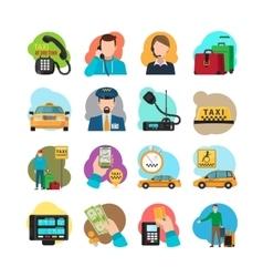 Taxi cartoon icons set vector image