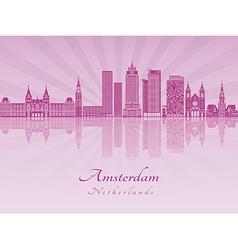 Amsterdam V2 skyline in purple radiant orchid vector image