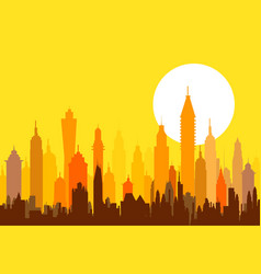 Morning modern skyline - vector