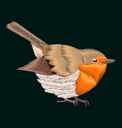 Embroidery robin bird vector