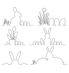 easter outline design with cute bunny and eggs vector image