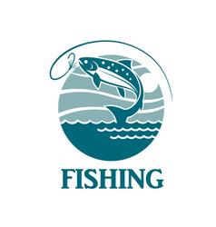 Salmon fishing emblem vector