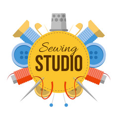 sewing studio logo with tailors stuff vector image