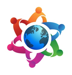 Teamwork around globe logo vector