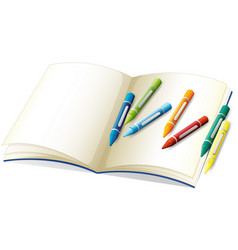 Blank book and many crayons vector