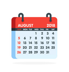 Calendar for 2018 year full month of august icon vector