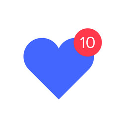 heart with counter notification icon counter and vector image