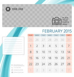 Calendar 2015 february template with place for vector