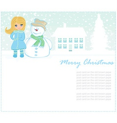 Little girl and snowman vector