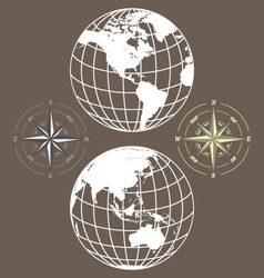 Globe and compass vector
