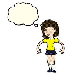 Cartoon woman looking sideways with thought bubble vector