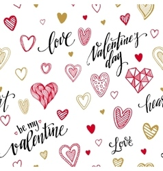 Valentine seamless pattern with hand lettering vector