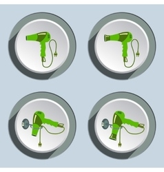 Hairdryer with two-pin plug icons set vector