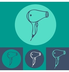 Hair dryer icon set on blue background vector