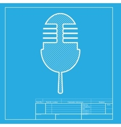 Retro microphone sign white section of icon on vector