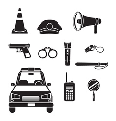 Police icons set monochrome vector
