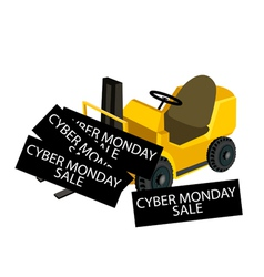 A forklift truck loading cyber monday card vector