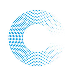 abstract ring of blue dots halftone effect with vector image