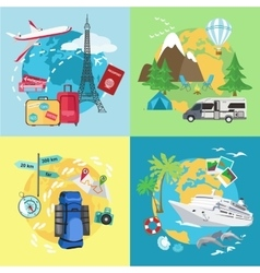Air tourism caravaning and camping tourism vector