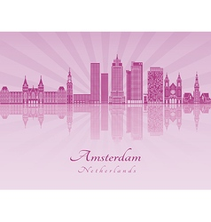 Amsterdam v2 skyline in purple radiant orchid vector