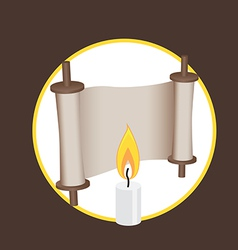 Ancient scroll and candle elements for logo and vector
