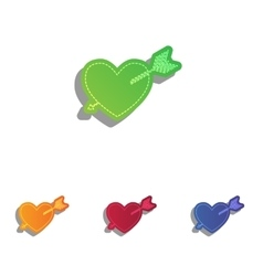 Arrow heart sign Colorfull applique icons set vector image vector image