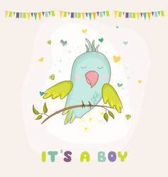 Baby shower card parrot boy sitting on brunch vector